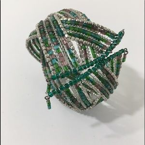Jewelry - CUFF BRACELET WIDE SILVER AND GREEN SEED-BEADS